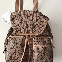 NWT Calvin Klein Women's Brown Monogram Backpack