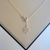 Silver Nautical Lariat Necklace with Anchor and Steering Wheel Pendants