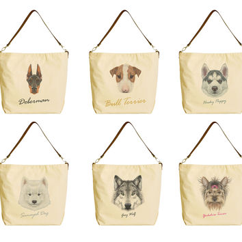 Portraits of Dog Beige Print Canvas Tote Bag with Leather Strap WAS_29