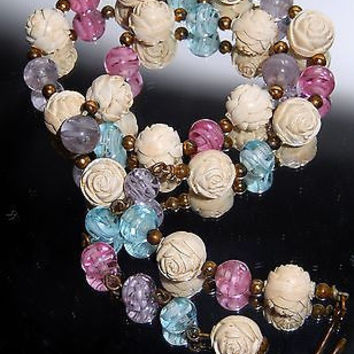 Venetian Glass Bead Necklace Pink Blue Purple Molded Plastic White Rose VTG