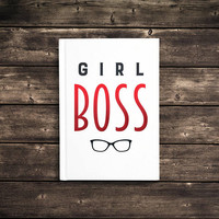 Girl Boss - 5x7 Writing Journal, cute custom notebook, personalized gift, glasses, hard cover journal, blank or lined pages