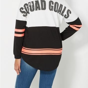 Plus Sequined Squad Goals Sweatshirt