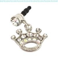 Apple iPhone 4S 4 Galaxy S Cell Phones and MP3s Silver Crown Silver Gems Universal 3.5mm Headphone Plug Charm:Amazon:Cell Phones & Accessories