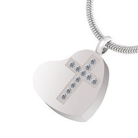 """Cremation """"Cross My Heart"""" Urn Necklace"""
