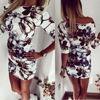 Summer Fashion Casual Women Dress Half Sleeve Asymmetrical neck Dress Sheath Bodycon Dresses -03d28