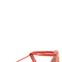 City Classified Harty Salmon Snake T-Strap Thong Sandals