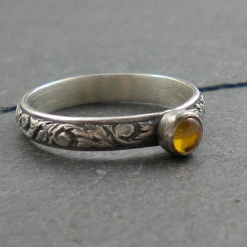 Citrine Ring Silver Leaves Band Rustic Patterned by SimplyRiveting