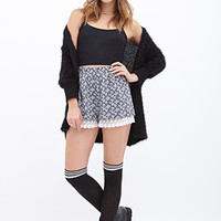 FOREVER 21 Dainty Floral Shorts Navy/White