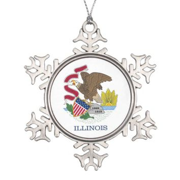 Snowflake Ornament with Illinois Flag