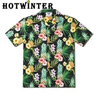 Summer Hot Sale Men Casual Pineapple Leaves Print Loose Short Sleeve Beach Shirt Top