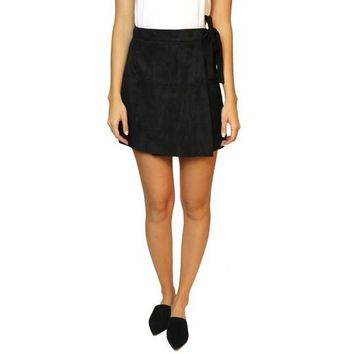 Black Mini Suede Skirt