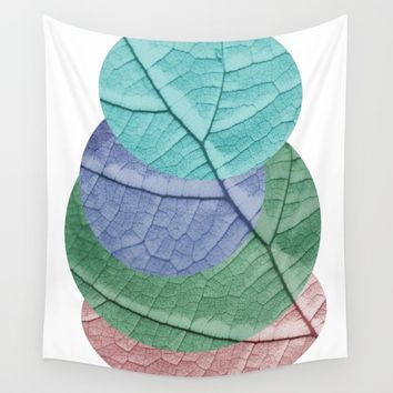 Pastel Leaf Collage Wall Tapestry by ARTbyJWP