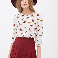 LOVE 21 Semi-Sheer Bird Print Top Ivory/Multi