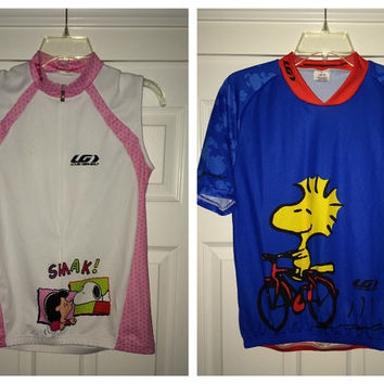 Sale!! Lot of 2 - LOUIS GARNEAU - SNOOPY Cycling Jersey Made in usA