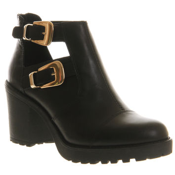 Vagabond Grace Cut Out Exclusive Black Leather - Ankle Boots