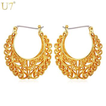 U7 Vintage Hollow Earrings Gold Color Fashion Chic Jewelry Party Round Basketball Wives Hoop Earrings for Women Gift Sale E360