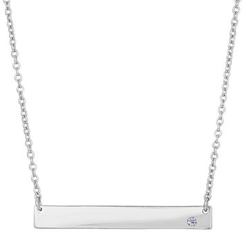 Sterling Silver Sideways Engravable Bar Pendant With Cz Fashion Necklace - 18 Inch