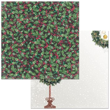"Christmas In The Village Double-Sided Cardstock 12""X12""-Holly"