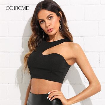 0b3d23b60152a COLROVIE Solid Asymmetrical Crop Shell Tank Top New Slim Fit Pla