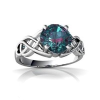 14kt White Gold Lab Alexandrite 6mm Cushion Celtic Knot Ring - Size 8