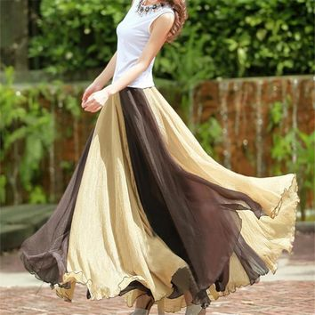 New 2017 Vintage Bohemia Chiffon Patchwork Women Boho Floor-Length Long Maxi Beach Party Loose Flare Skirt