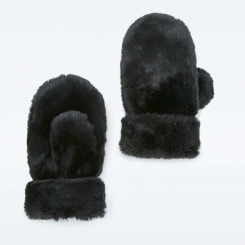 Faux-Fur Mittens - Urban Outfitters