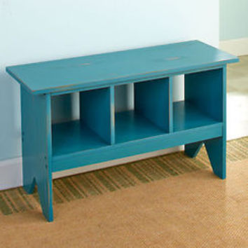 Teal Blue Distressed Entryway Storage Bench Sitting Bench Shoe Organizer Home