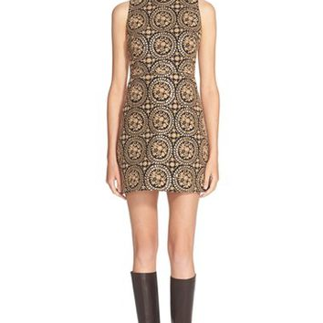 Women's Alice + Olivia 'Whela' Embroidered Sleeveless Shift Dress,