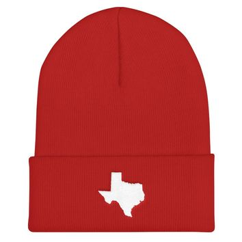 Texas Embroidered State Shape Cuffed Beanie