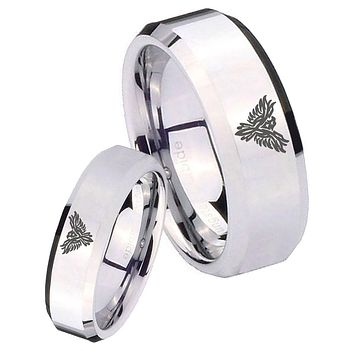 His Her Mirror Beveled Phoenix Silver Tungsten Wedding Rings Set