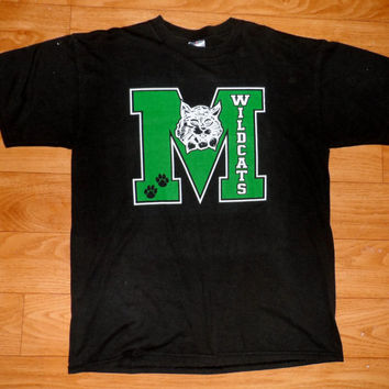 Vintage football t-shirt - wildcats - college football jersey - nfl - vintage t-shirt black green shirt - medium