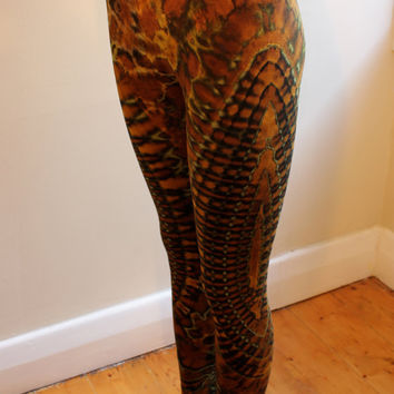 Psychedelic tie-dyed footless leggings/ tights in viscose/ spandex blend/ brown & green