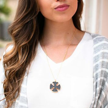 It's Not Too Late Grey Druzy Necklace