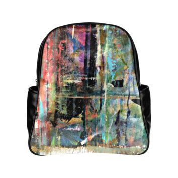 Personalized Backpack Grunge Grafitti Pockets Unisex Classic School Bag