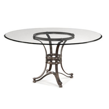 Bassett Mirror Tempe 60 Inch Round Glass Dining Table w/ Metal Base