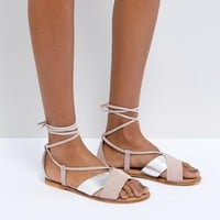 ASOS FOLLOW YOU Suede Tie Leg Sandals at asos.com