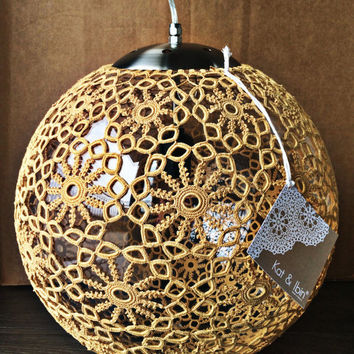"Liz Crochet Lamp 14"" ø - Gold"