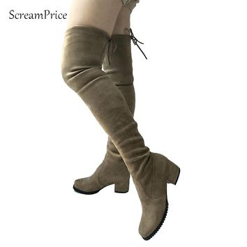 Square Toe Women Micro Suede Thigh High Boots Mid Heel Comfy Slouch Stretch Over the Knee Boots Shoes Black Gray Winered Nude