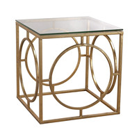 Leafed Ring and Glass Table Gold Leaf,Clear