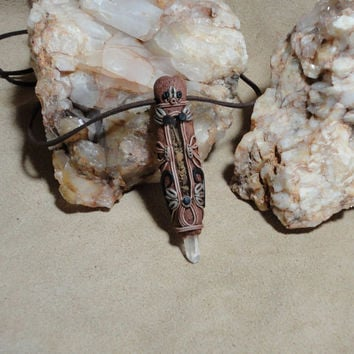 Healing Herbs herbal Wand Quartz Crystal Pendant Shaman Medicine Man Woman Necklace Herbal Amulet Sam Art clay Jewelry