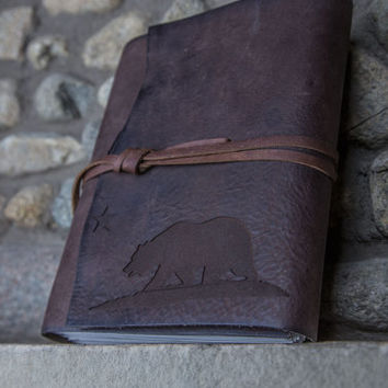 California Bear Leather Journal | Leather Scrapbook | Leather Sketchbook | Handmade Leather Journals