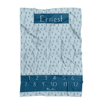 Baby Milestone Blanket - Forest - Personalized Baby Blanket - Track Growth and Age - New Mom Baby Shower Gift - Blue