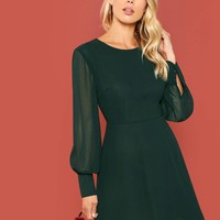 Lantern Sleeve Fit and Flare Dress
