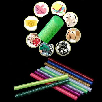 Discount Colored Flash Hot Melt Glue Stickers 5Pcs set 7x100mm Melt Glue Stick For Electric Glue Gun Craft Repair