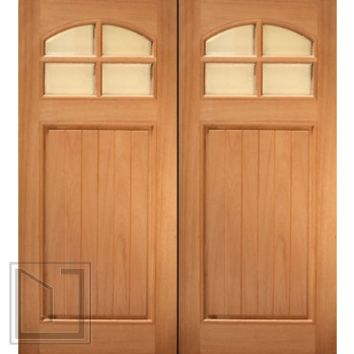 "72"" x 80"" (6'-0"" x 6'-8"") Mahogany Single entry Door, 8-Lite 2-Panel"