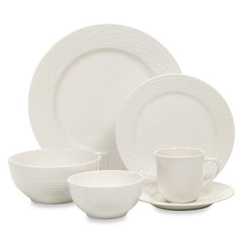 Gibson Home Noble Weave 48-Piece Porcelain Dinnerware Set in White