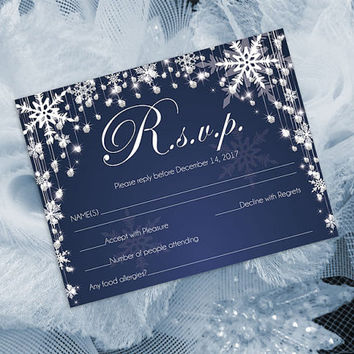 DIY Printable Wedding RSVP Template | Editable MS Word file | 5.5 x 4.25 | Instant Download | Diamond Shower Snowflakes Navy Blue
