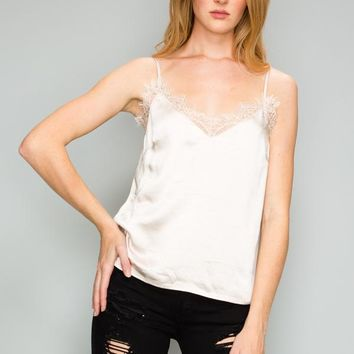 Solid Satin Lace Cami - Champagne