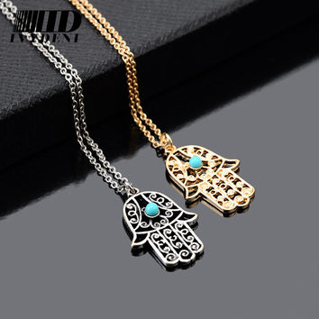 Silver Vintage Design Long Necklace Luck Hamsa Hand Pendants Fatima Hand Palm Statement Necklace Valentine's Day Gift Collares