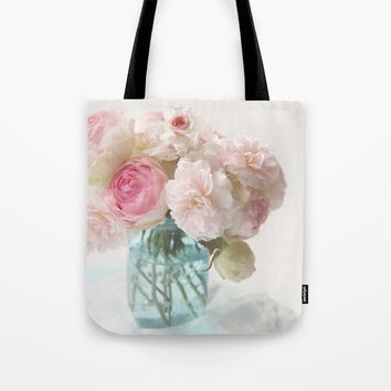 pink roses in blue jar Tote Bag by sylviacookphotography